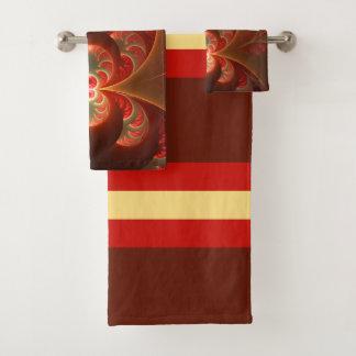 明るく抽象的でモダンなオレンジ赤のフラクタル バスタオルセット