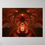 明るく抽象的でモダンなオレンジ赤のフラクタル ポスター