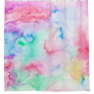 明るく抽象的なピンクの青い手塗りの水彩画 シャワーカーテン