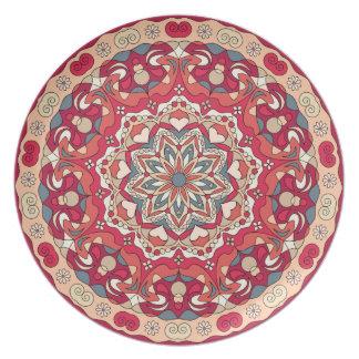 明るく抽象的な円パターンメラミンプレート プレート