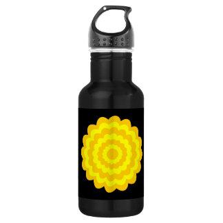 明るく明るく黄色い花。 黒 ウォーターボトル