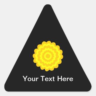 明るく明るく黄色い花。 黒 三角形シール