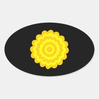 明るく明るく黄色い花。 黒 楕円形シール