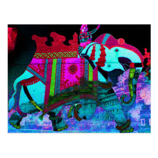 明るく色彩の鮮やかでカラフルな象の芸術 ポストカード