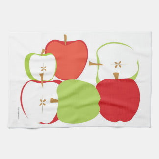 明るく赤いおよび緑のりんごのふきん キッチンタオル