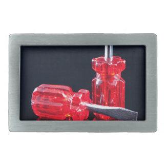 明るく赤いスクリュードライバー-用具のプリント 長方形ベルトバックル