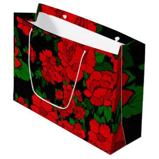 明るく赤いバラ ラージペーパーバッグ