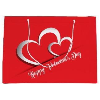 明るく赤いバレンタインデーのギフトバッグ(大きい) ラージペーパーバッグ