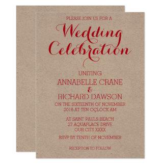 明るく赤いベージュ色の名前入りな結婚式招待状 カード