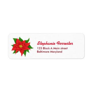 明るく赤いポインセチアの花のクリスマス ラベル