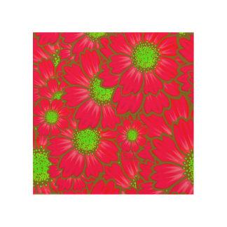 明るく赤いライムグリーンのデイジーによっては花パターンが開花します ウッドウォールアート