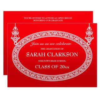 明るく赤いヴィンテージの卒業のパーティの招待状 カード
