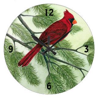 明るく赤い(鳥)ショウジョウコウカンチョウ-時計 ラージ壁時計