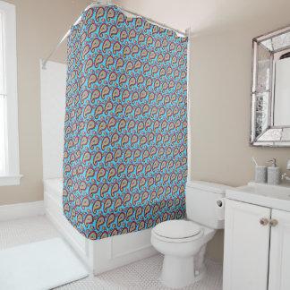 明るく青いオレンジペイズリーパターン シャワーカーテン