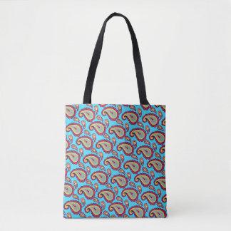 明るく青いオレンジペイズリーパターン トートバッグ