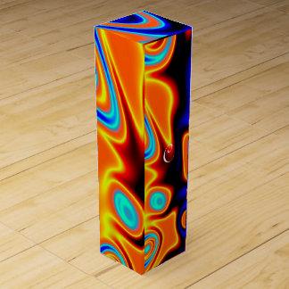 明るく青いオレンジ黄色の抽象芸術 ワインギフトボックス
