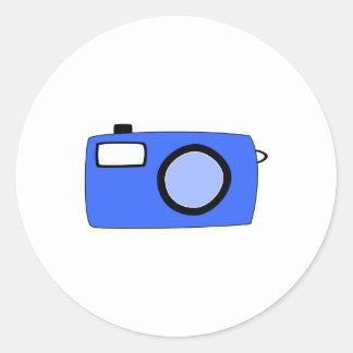 明るく青いカメラ。 白 ラウンドシール