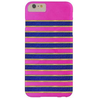 明るく青いピンクのストライプのデザインのiPhoneの箱 Barely There iPhone 6 Plus ケース