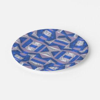 明るく青いモザイク模様の紙皿 ペーパープレート
