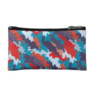 明るく青い色のスタイルのカムフラージュパターン コスメティックバッグ