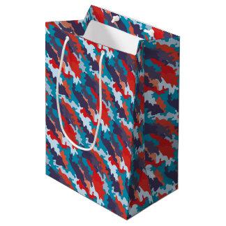 明るく青い色のスタイルのカムフラージュパターン ミディアムペーパーバッグ