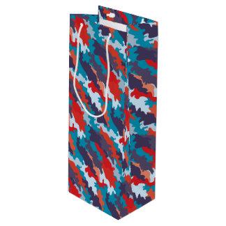 明るく青い色のスタイルのカムフラージュパターン ワインギフトバッグ