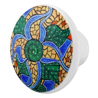 明るく青い花 セラミックノブ