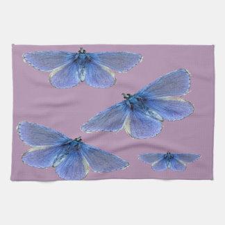 明るく青い蝶 キッチンタオル