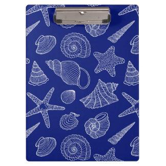 明るく青い貝パターン クリップボード
