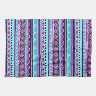 明るく青および紫色の種族パターン キッチンタオル