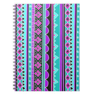 明るく青および紫色の種族パターン ノートブック