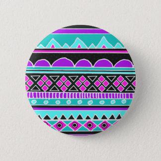 明るく青および紫色の種族パターン 5.7CM 丸型バッジ