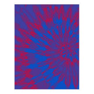 明るく青および赤い螺線形の絞り染め ポストカード