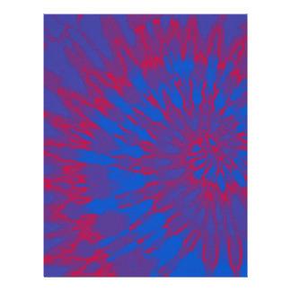 明るく青および赤い螺線形の絞り染め レターヘッド