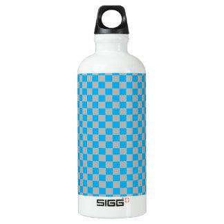 明るく青く、銀製の塵の灰色のチェッカーボード ウォーターボトル