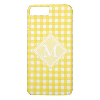 明るく黄色いギンガムチェック模様のパターンモノグラム iPhone 8 PLUS/7 PLUSケース