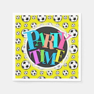 明るく黄色いサッカーボールパターン スタンダードカクテルナプキン