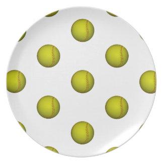 明るく黄色いソフトボールパターン プレート