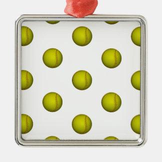 明るく黄色いソフトボールパターン メタルオーナメント