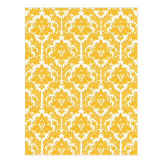 明るく黄色いダマスク織 ポストカード