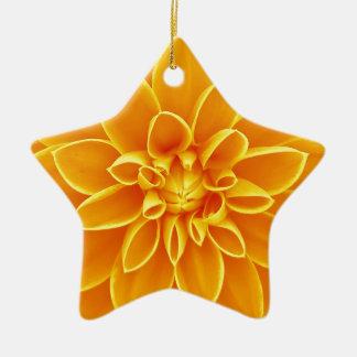 明るく黄色いダリアの花 陶器製星型オーナメント