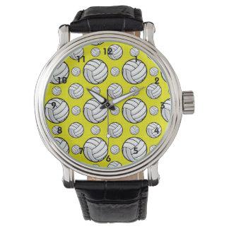 明るく黄色いバレーボールパターン 腕時計