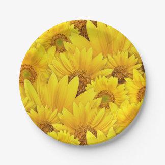 明るく黄色いヒマワリのデイジーの花柄パターン ペーパープレート