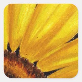 明るく黄色いヒマワリ-油のパステル調のプリント スクエアシール