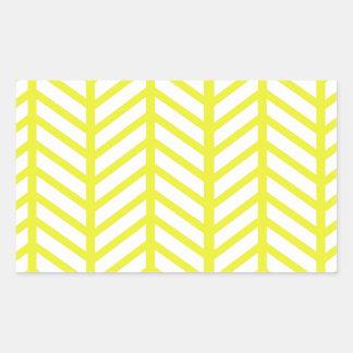 明るく黄色いヘリンボン 長方形シール