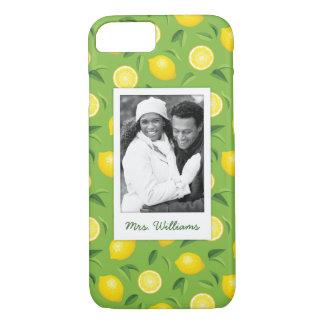 明るく黄色いレモンパターン|はあなたの写真を加えます iPhone 8/7ケース