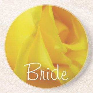 明るく黄色い白熱ばら色の結婚式 ドリンクコースター