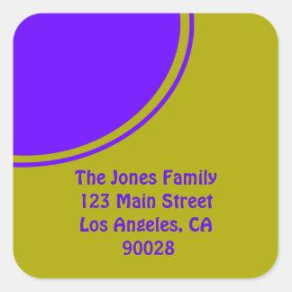明るく黄色い紫色のモダンな円 スクエアシール