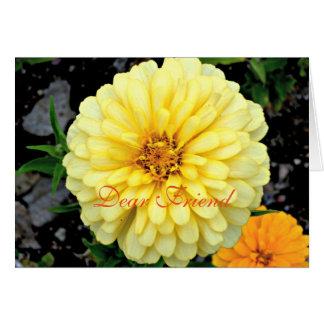 明るく黄色い《植物》百日草の花の親愛なる友人 カード