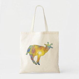 明るく黄色くカラフルなヤギのおもしろいな動物のデザイン トートバッグ